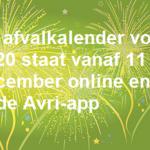 Nieuwe afvalkalender Avri vanaf 11 december